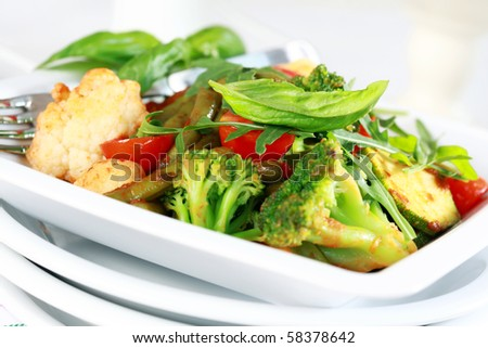 Baked mixed vegetable with herbs