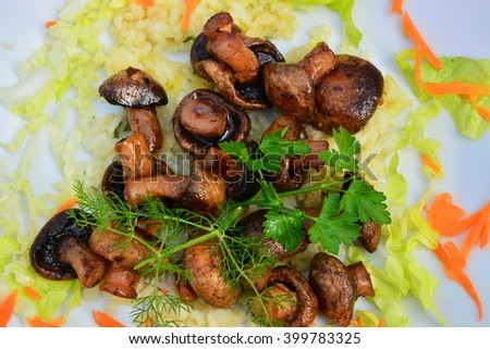 baked mushrooms grilled with vegetables  - stock photo