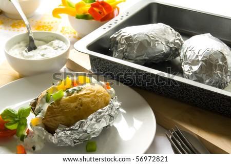 Baked oven potato - stock photo