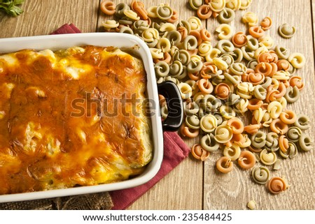 Baked Pasta fresh vegetable with cheddar cheese
