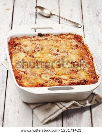 baked pasta on withe table