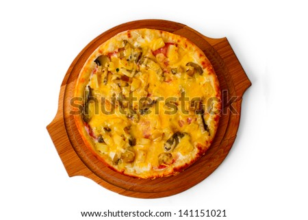 baked pizza fast a dinner crust italian mushrooms food cheese isolated white tomato meal