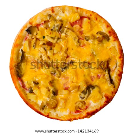 baked pizza fast dinner a crust italian mushrooms food cheese isolated white tomato meal clipping path