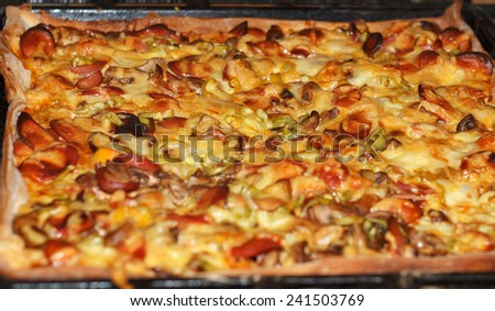 Baked pizza with mushrooms, meat and melted cheese from an oven - stock photo