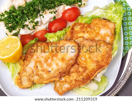 Baked plaice fillet with potato salad on a plate with tomato and salad decoration - stock photo