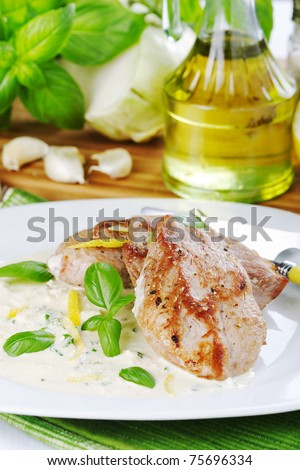 baked pork - stock photo