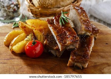 baked pork ribs  - stock photo