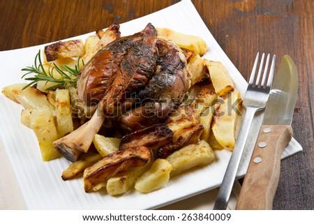 Baked pork shank with sauerkraut  - stock photo