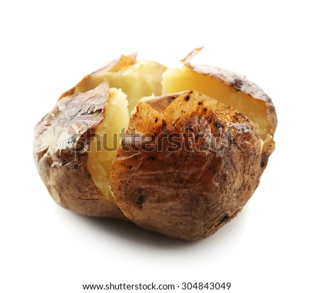 Baked potato isolated on white - stock photo