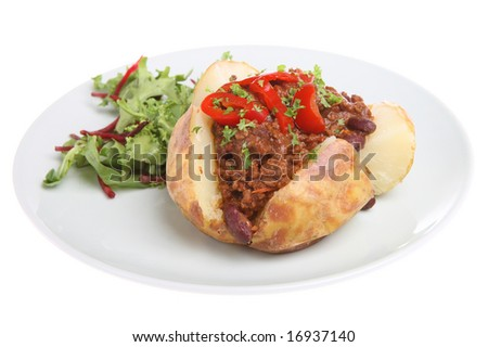 Baked potato with Chilli - stock photo