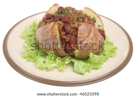 Baked potato with chilli con carne - stock photo
