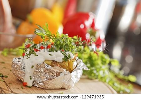 Baked potatoe - stock photo