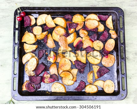Baked potatoes and beets