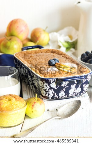 Baked rice pudding with apple for healthy breakfast