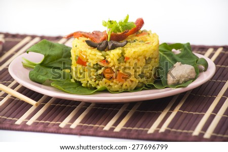Baked rice with vegetables and saffron
