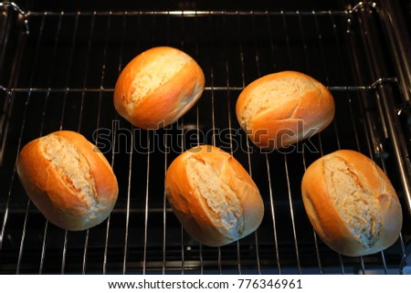 baked rolls in a oven