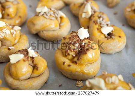 Baked rolls with sesame - stock photo