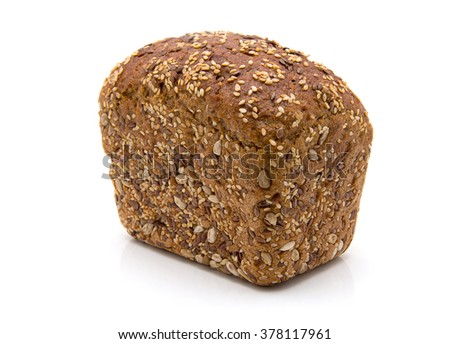 Baked rye bread with linseeds on the white isolated background - stock photo