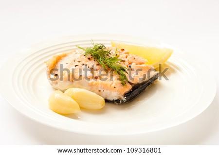 Baked salmon - stock photo