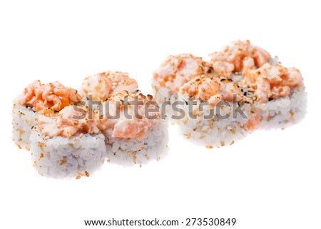 Baked salmon, snow crab, cucumber and avocado rolls isolated on white background - stock photo