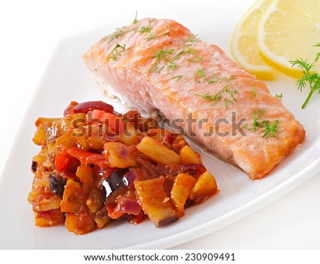 Baked salmon with vegetables ratatouille