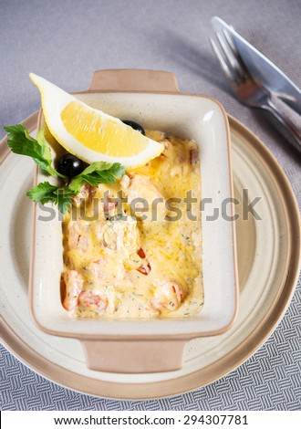 Baked Seafood with lemon