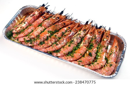 baked shrimp in a container - stock photo