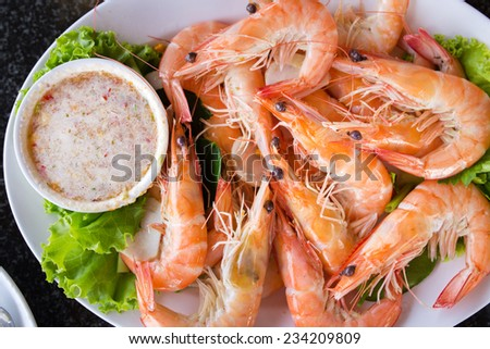 baked shrimp with salt - stock photo