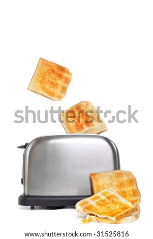 baked toast and a toaster