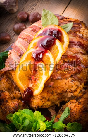 baked turkey with chestnut filling and orange - stock photo
