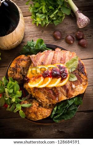 baked turkey with chestnut filling and orange - stock photo