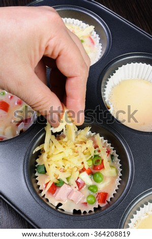 Baked vegetable casserole portion ham with cheese - stock photo