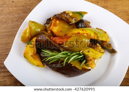 Baked vegetables - eggplant, pepper, tomato, carrot and zucchini