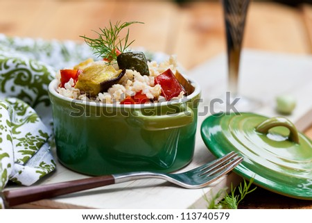 Baked vegetables pilaf. Also available in vertical format. - stock photo
