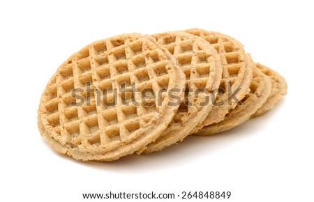 baked waffles on white background  - stock photo