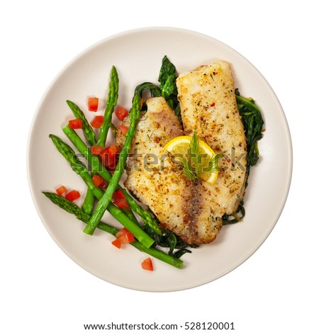 Baked Whitefish Tilapia Fish Fillet Isolated on White Background. Selective focus.