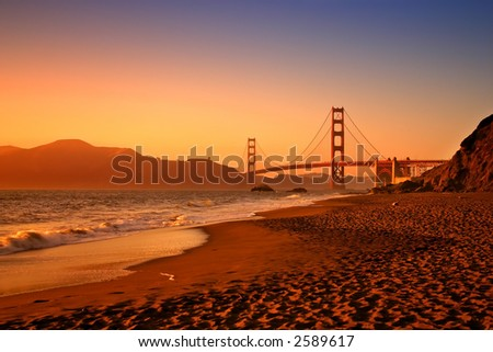 Baker Beach is a state and national public beach on the Pacific Ocean coast, on the San Francisco peninsula - stock photo