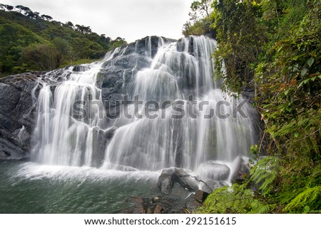 Bakers Falls In Horton Plains, Sri Lanka. The Height Of Bakers Waterfalls Is 20 Metres And The Falls Were Named After Sir Samuel Baker, Who Was A Famous Explorer - stock photo