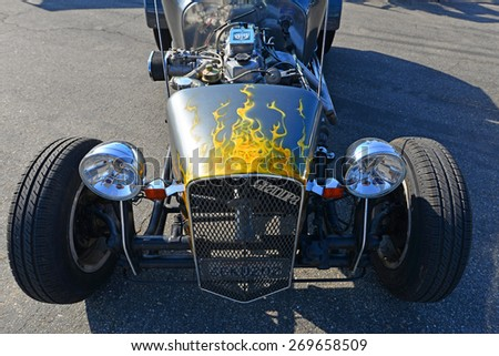 BAKERSFIELD, CA - APR 11, 2015: A hot rod roadster based on the 1923 Ford Model T, a T-bucket powered by a Toyota engine, made an appearance today at the Calvary Baptist Church Spring Car Show.  - stock photo