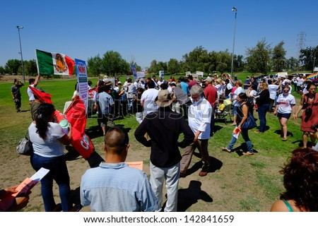 BAKERSFIELD, CA - JUN 15: Activists gather prior to a march, hoping to influence Rep. Kevin McCarthy to back a new immigration law on June 15, 2013, in Bakersfield, California.
