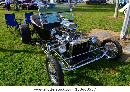 BAKERSFIELD, CA-MAR 2: This wildly imaginative hot rod started life as a 1923 Ford Model T, on display at the Cruisin' For A Wish Car & Motorcycle Show on March 2, 2013, in Bakersfield, California.