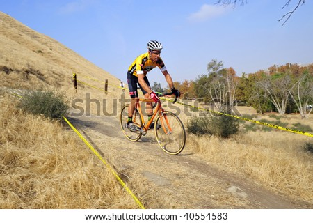 BAKERSFIELD, CA - NOV 7: Men's racing action during the Fifth Annual Hart Park Cyclocross on November 7, 2009, at Bakersfield, California.
