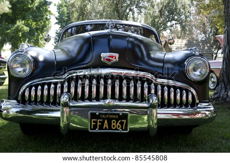 BAKERSFIELD, CA - SEPT 18: The Kern County Museum Auto Show features classic automobiles, such as this 1949 Buick Super straight eight, on display September 18, 2011, in Bakersfield, California. - stock photo