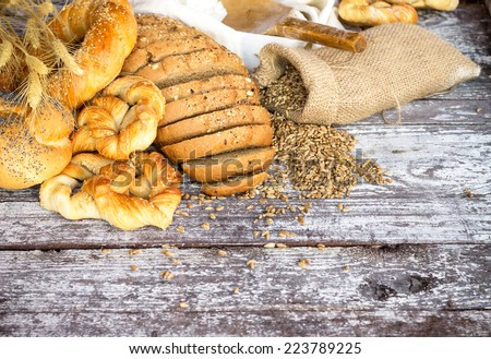 Bakery Bread on a Wooden Table.