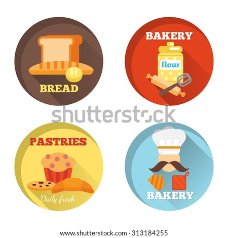Bakery decorative icons set with bread daily fresh pastries isolated  illustration - stock photo