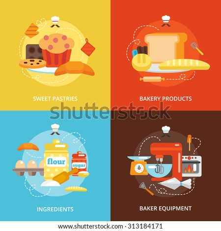 Bakery flat icons set with sweet pastries products ingredients baker equipment isolated  illustration - stock photo