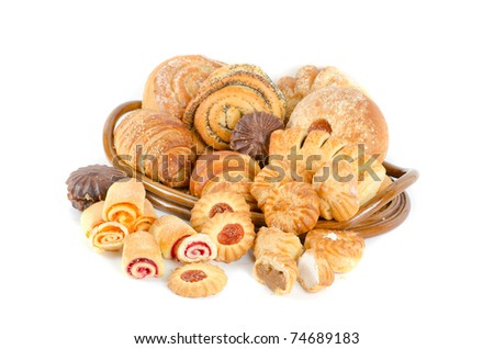 Bakery foodstuffs set on a white background - stock photo