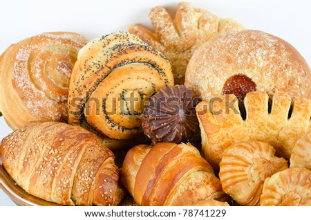 Bakery foodstuffs set on a white background - stock photo
