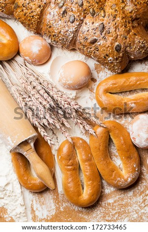 Bakery. Fresh bagels and bread on a table