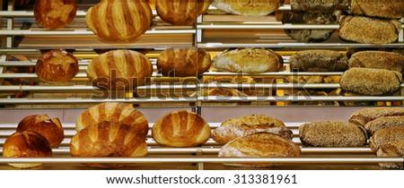 Bakery goods in an Etretat boulangerie in Normandy, France - stock photo